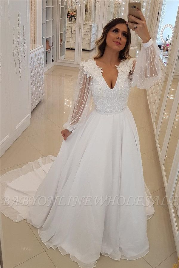Fashion Long Sleeves Beading Tulle A-Line Flower Prom Dress