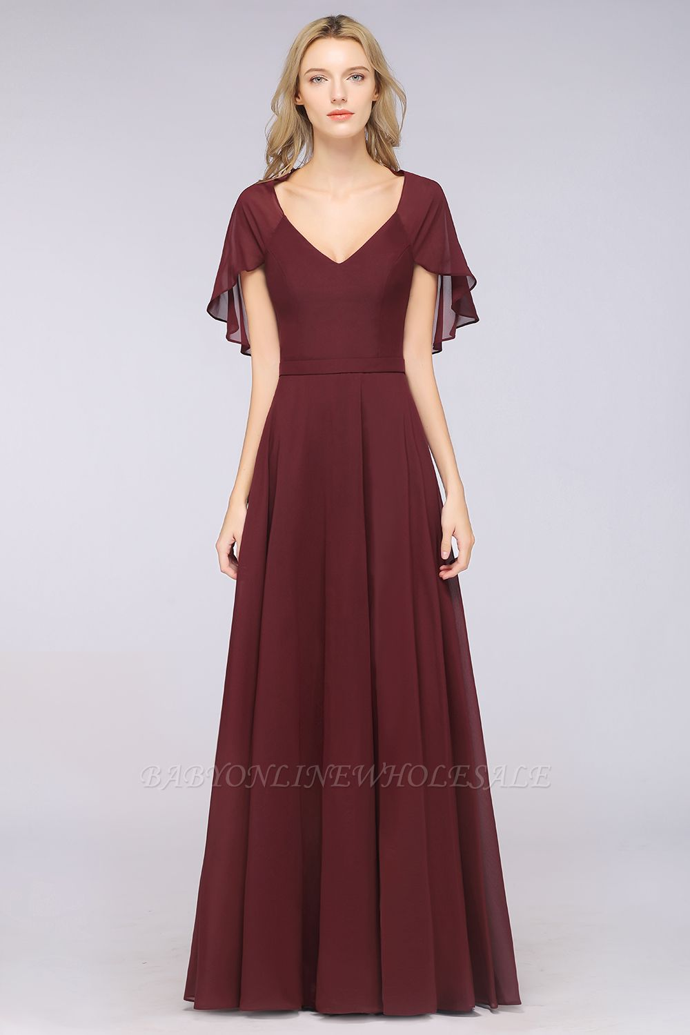 Chiffon Satin A-Line V-Neck short-sleeves Long Bridesmaid Dress