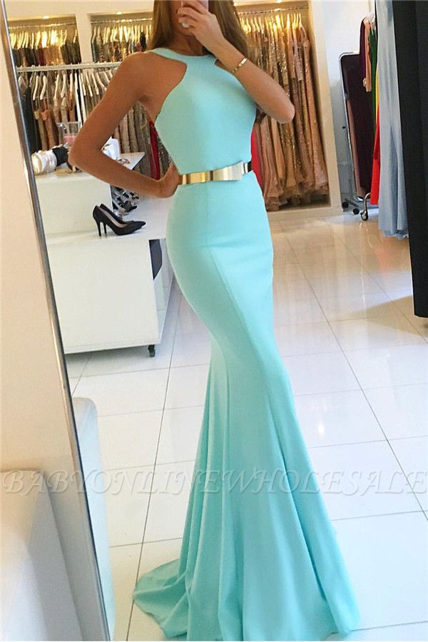 Mermaid New Arrival Halter Sleeveless Prom Dresses With Sash