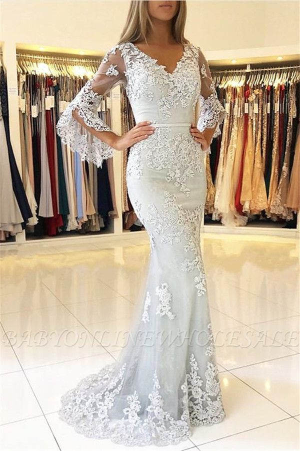 Classic V-Neck Bell Sleeves Prom Dresses | Lace Appliques Mermaid Evening Dresses