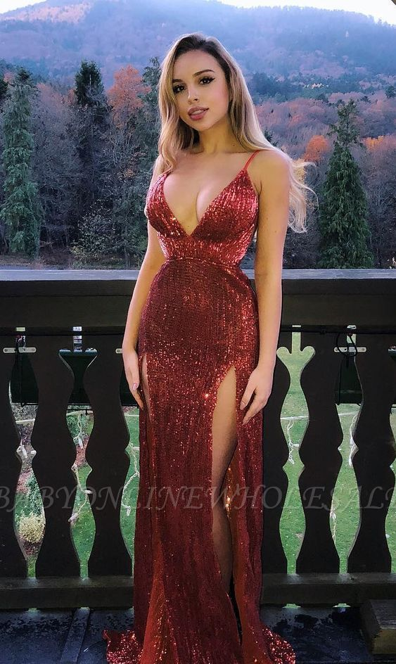 Mermaid Glamorous Sequins Spaghetti-Straps V-Neck Side-Slit Prom Dresses