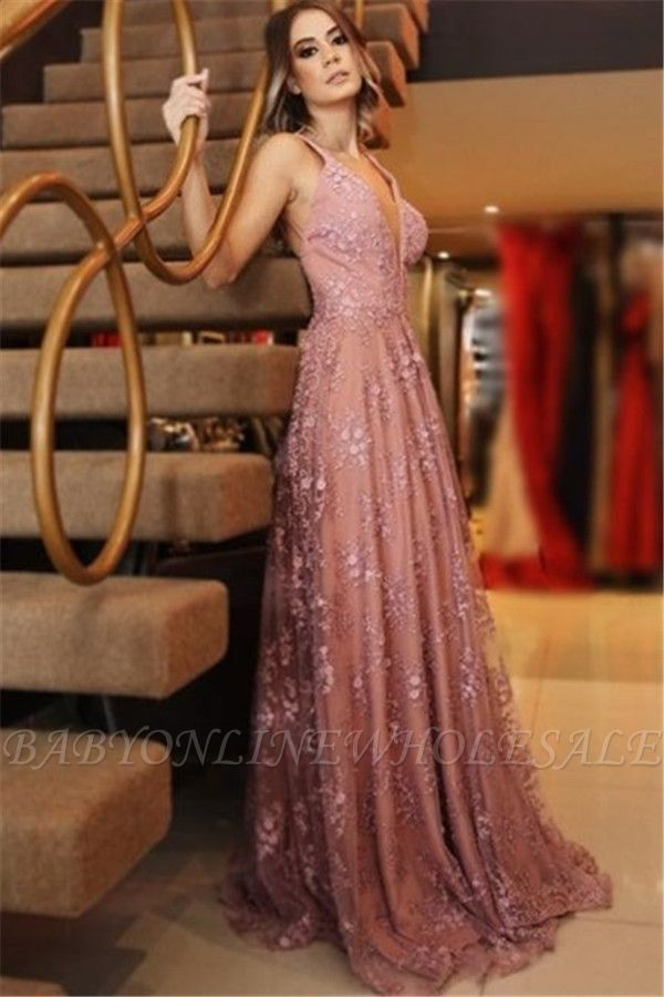 A-Line Sexy Spaghetti-Strpas Appliques Backless Prom Dresses