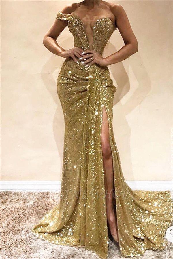 One Shoulder Sexy Seitenschlitz Pailletten Abendkleid | Ärmellose funkelnde billige Ballkleider online