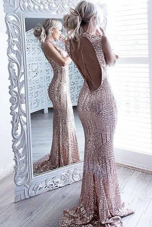 Sequins Sparkling Sheath Formal Dress Sexy Open-Back Sleeveless High Neck Prom Dress JJ0158