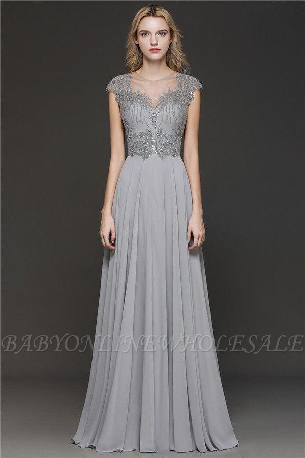 Crystal Appliques Sweetheart Side Slit Prom Dresses | Backless Capsleeves Evening Dresses