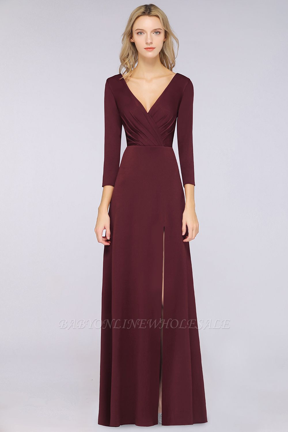 Spandex A-Line V-Neck Long-Sleeves Side-Slit Long Bridesmaid Dress with Ruffles