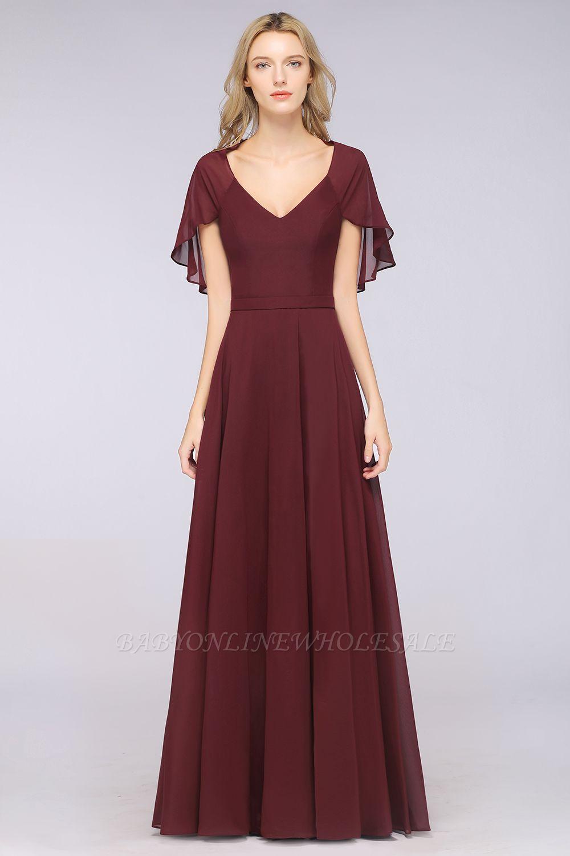 Chiffon Satin A-Line V-Neck short-sleeves Long Bridesmaid Dress