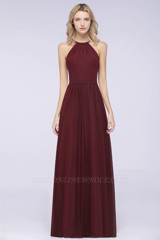 A-Line Chiffon Neckholder Braujungfer Kleid   Bodenlanges Brautjungfernkleid Online Kaufen