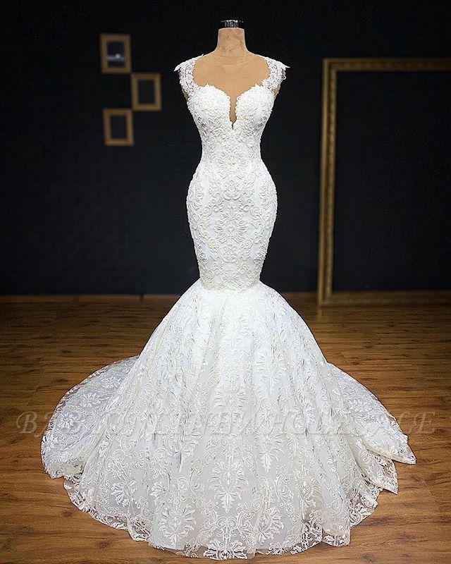 Wunderschöne Brautkleider Meerjungfrau Lang | Elegante Spitze Abendmode Weiße