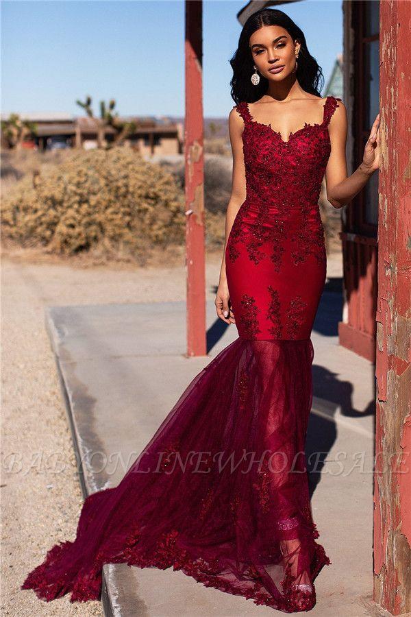 Burgundy Straps Appliques Tulle Mermaid Prom Dresses