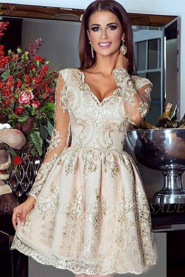 Vestido de Fiesta de Oro Glamoroso | Apliques de encaje con cuello en V manga larga Vestidos cortos de Hoco
