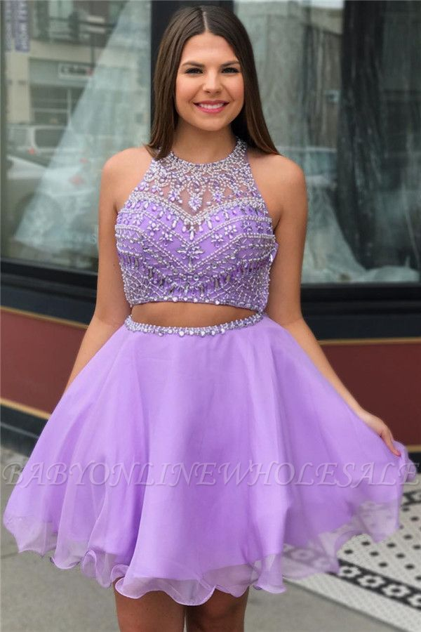 Purple Crystal Halter Sleeveless Two-Piece Home-Coming Dresses