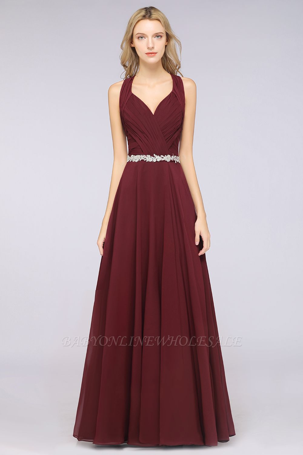Chiffon A-Line Halter V-Neck Sleeveless Ruffle Long Bridesmaid Dress with Appliques Sashes
