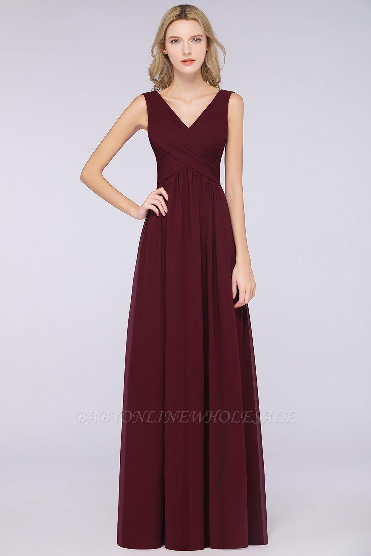 Chiffon A-Line Straps V-Neck Sleeveless Long Bridesmaid Dress with Ruffles