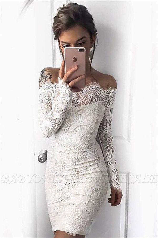 Vestidos de fiesta de cóctel cortos de sirena de manga larga blanco simple