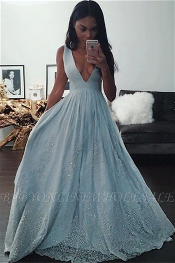 Sexy V-Neck Baby Blue Evening Dress Sequins Lace BA3638