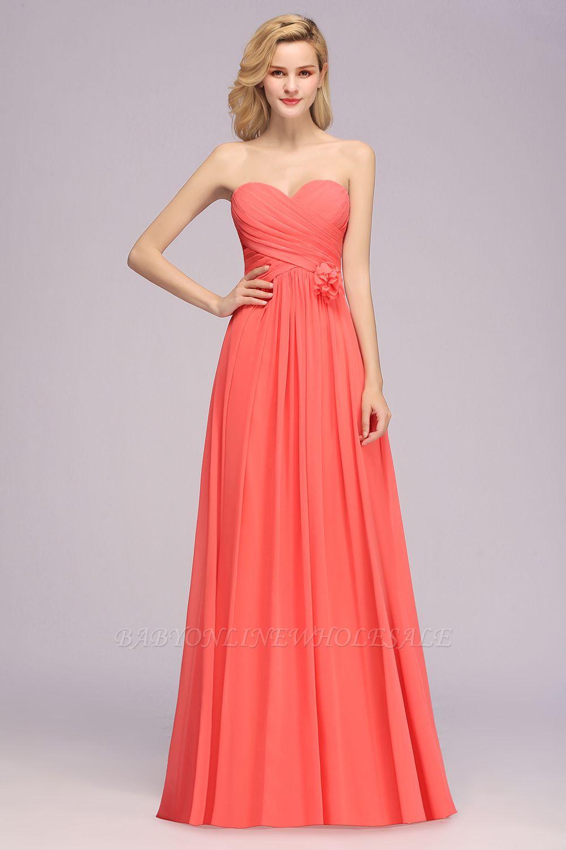 Simple Sweetheart Strapless Flower Watermelon Bridesmaid Dress