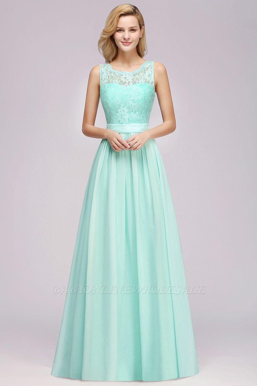 400a400842 Modest Chiffon Lace Scalloped Sleeveless Long A-Line Ruffles Bridesmaid  Dress