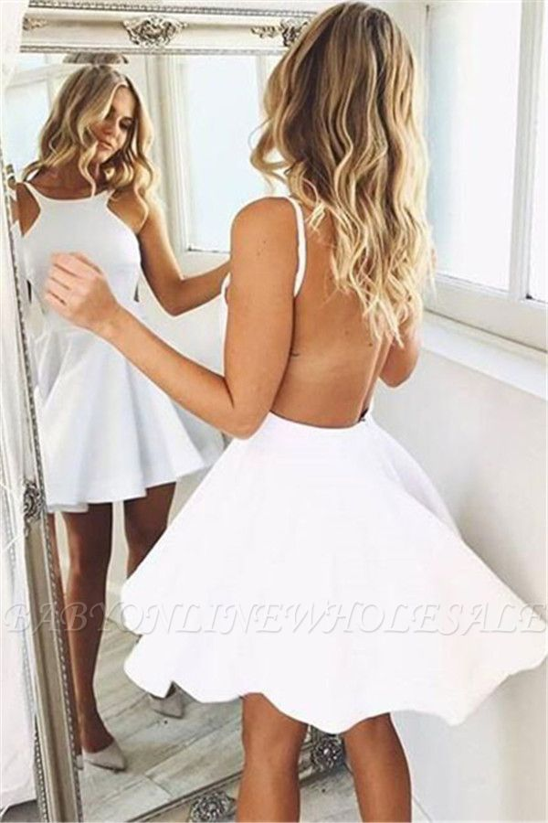 Cute A-line Backless Short-mini White Sleeveless Cocktail Dress