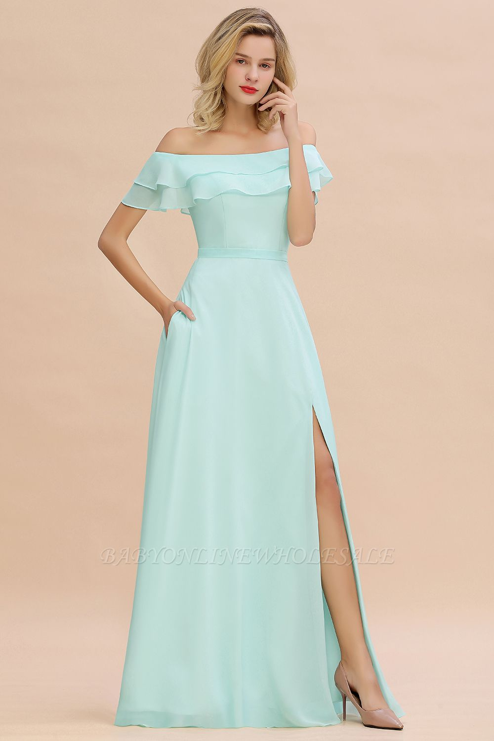 High Quality Off-the-Shoulder Front-Slit Mint Green Bridesmaid Dress