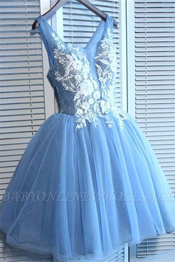 Gorgeous Blue Short Homecoming Dresses  V-Neck Lace-Up Hoco Dresses