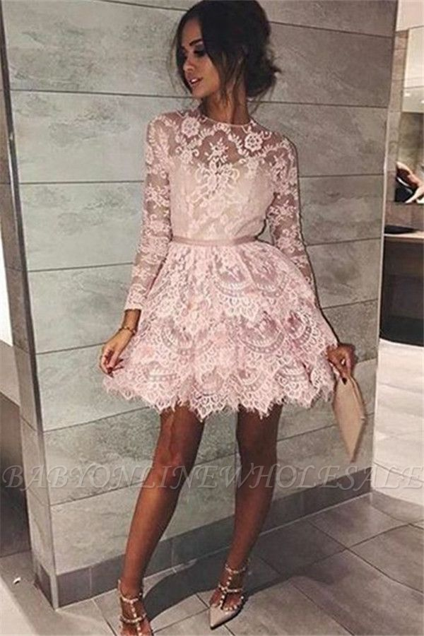 Chic Long Sleeves Homecoming Dresses  Scoop Pink Fashion Hoco Dresses