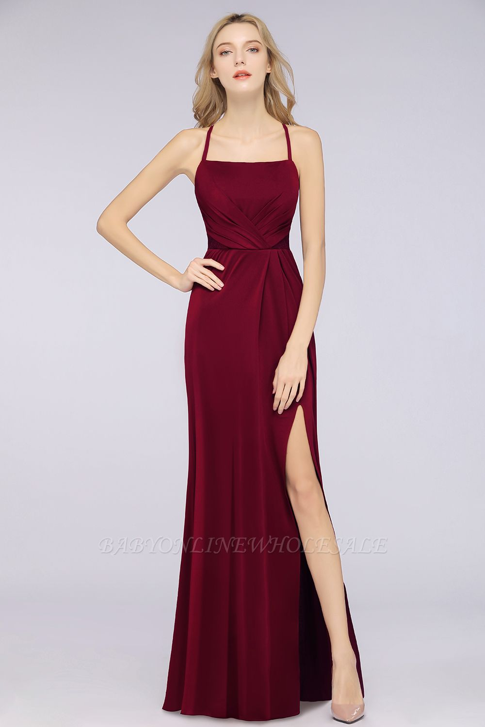 Spandex Lace Mermaid Spaghetti-Straps Sleeveless Long Bridesmaid Dress with Ruffle