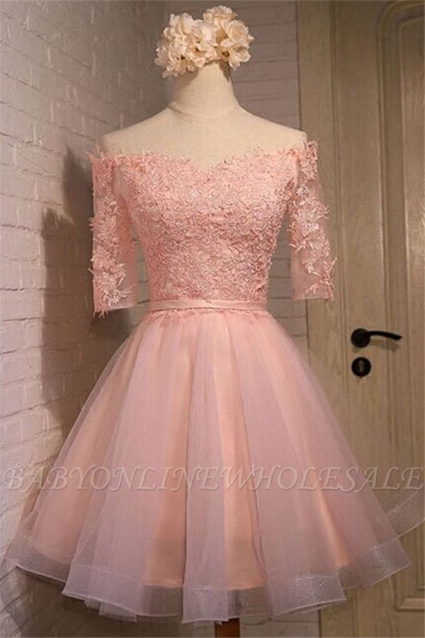 New Lace Appliques Off-the-shoulder Half Sleeve Short Homecoming Dress