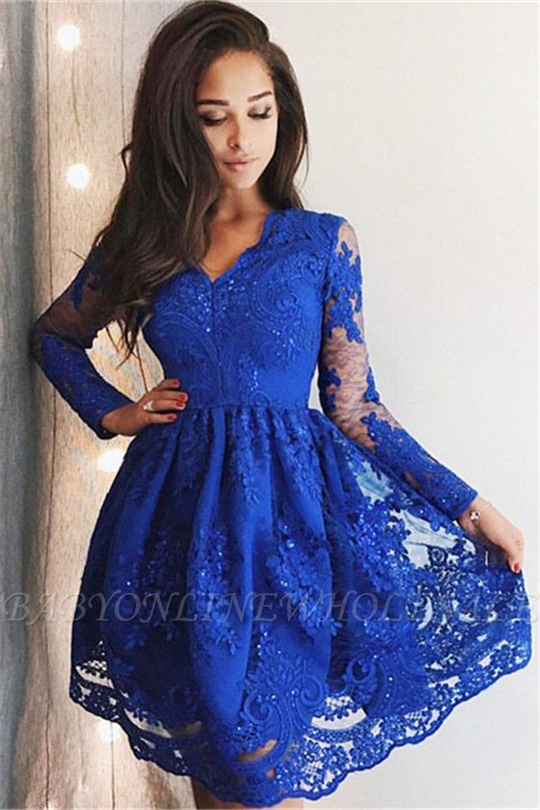 Cute Royal Blue Lace Long Sleeve Homecoming Dress |  Short Hoco Dresses