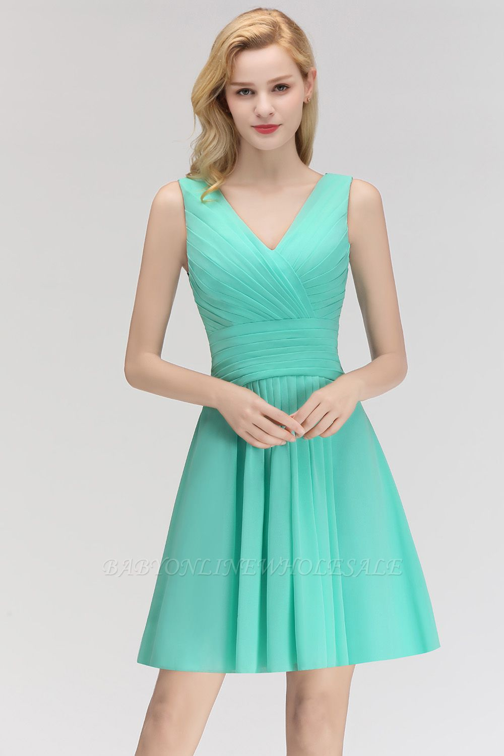 Mabel | Modest Ruffles Sexy V-Neck Sleeveless Short Bridesmaid Dress