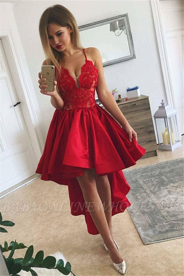 Cute Red High-low A-line Lace V-neck Homecoming Dress BA6902