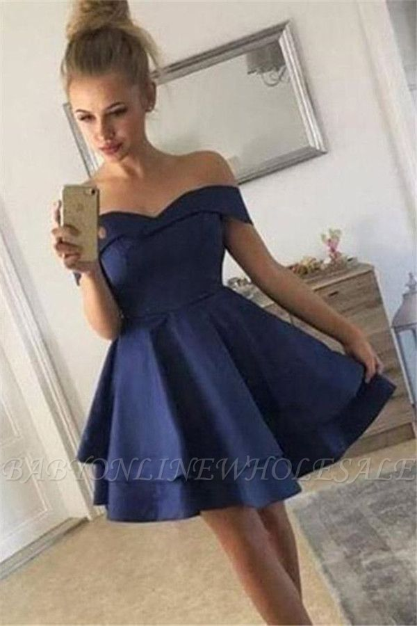 Stunning A-Line Off-the-Shoulder Tiered Short Prom Homecoming Dress
