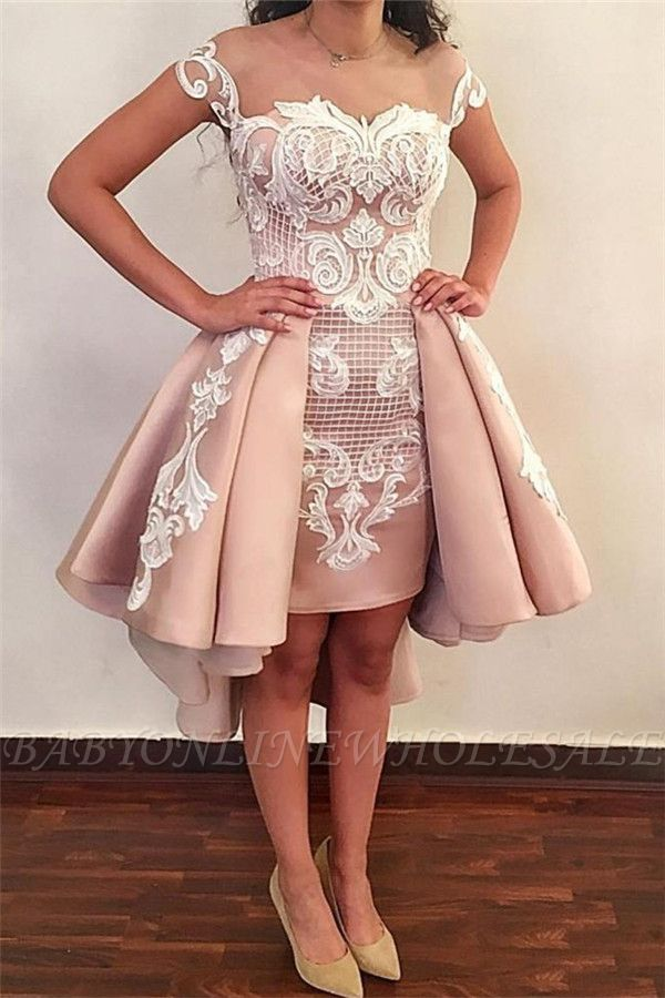 Trendy Jewel Cap-Sleeve Short Pink Cocktail Party Dresses