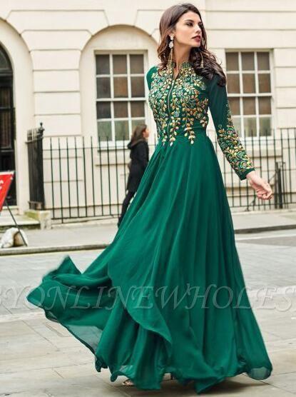 Emerald Green Sadi Arabia Long Chiffon Evening Dresses With Sleeves