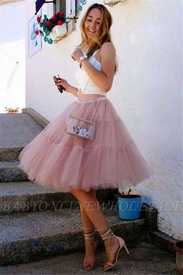 Stylish Two-Pieces Tulle Sleeveless Homecoming Dress