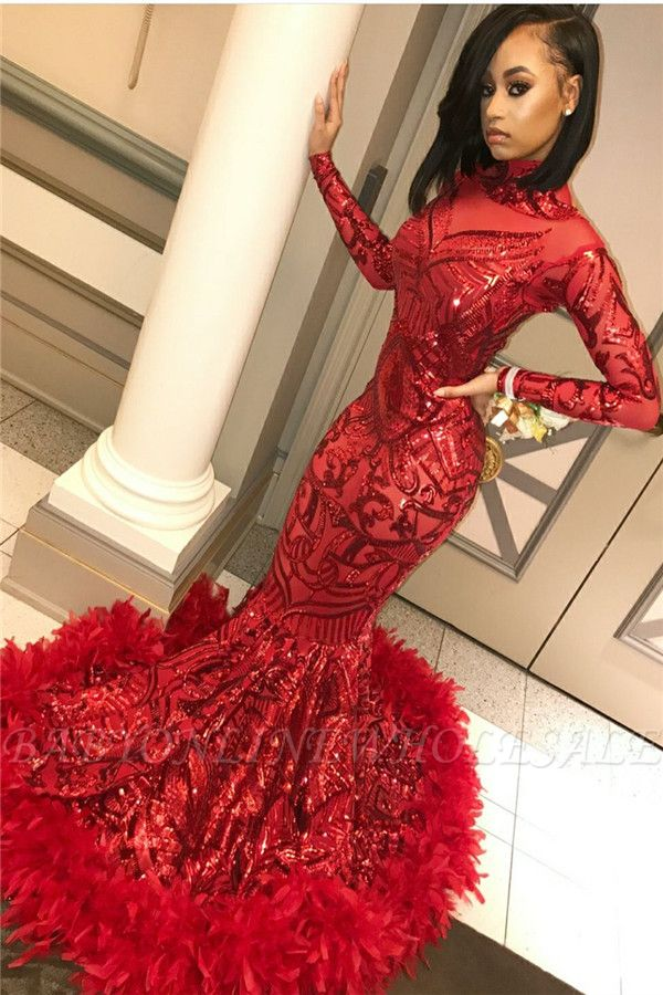 Red Mermaid Sequins Long Sleeves High Neck Prom Dresses