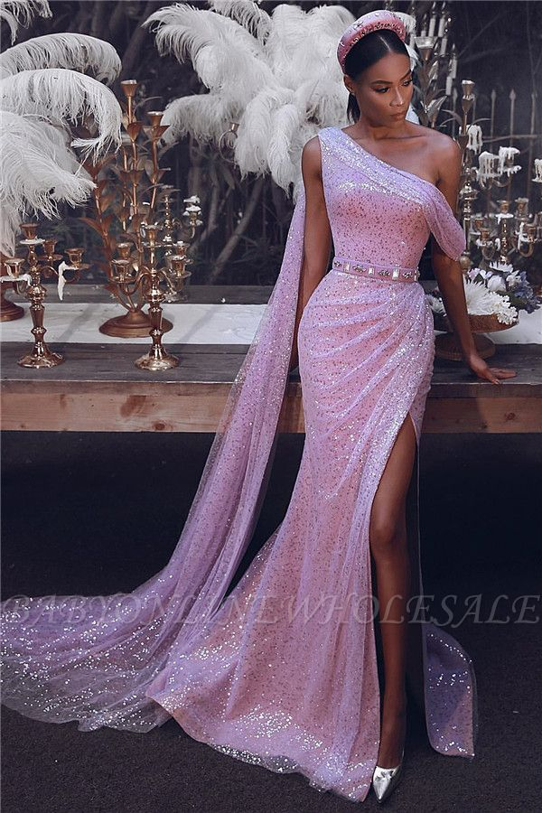 Sparkly One-Shoulder Slit Sequins Evening Dress