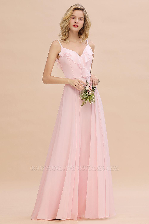 Cynthia | Stylish Straps V Neck Long Cheap Bridesmaid Dress Online