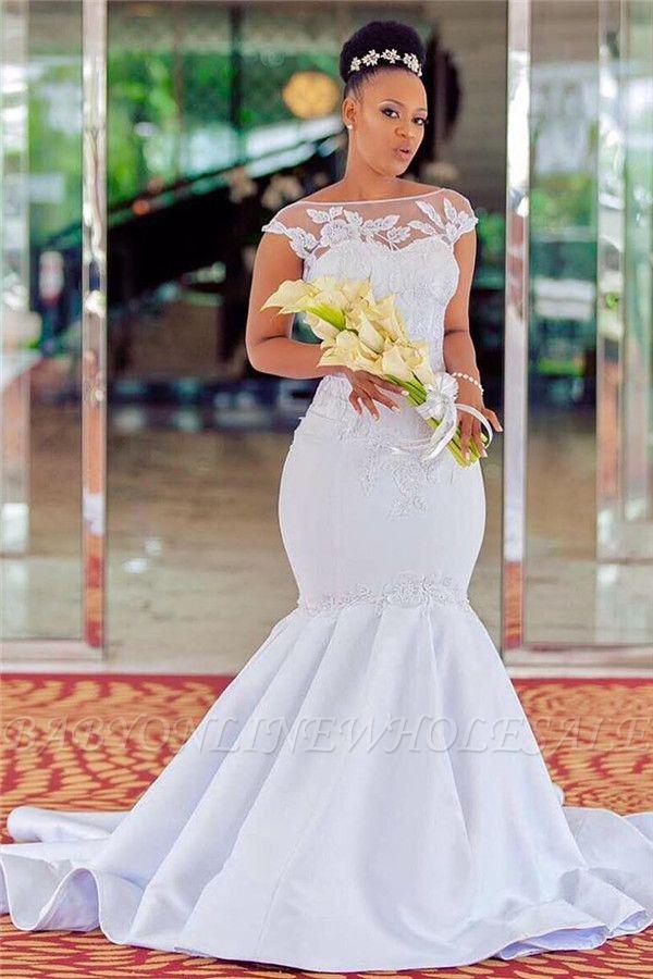 Mermaid Jewel Sleeveless Lace Appliques Wedding Dress