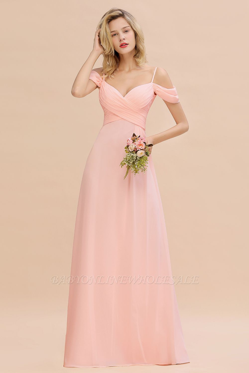 Spaghetti Straps Sweetheart Ruffles Bridesmaid Dress | Evening Dresses Online