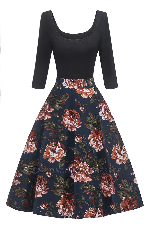 Attrayants scoop robes à la mode manches 3/4 | Robes florales de femmes