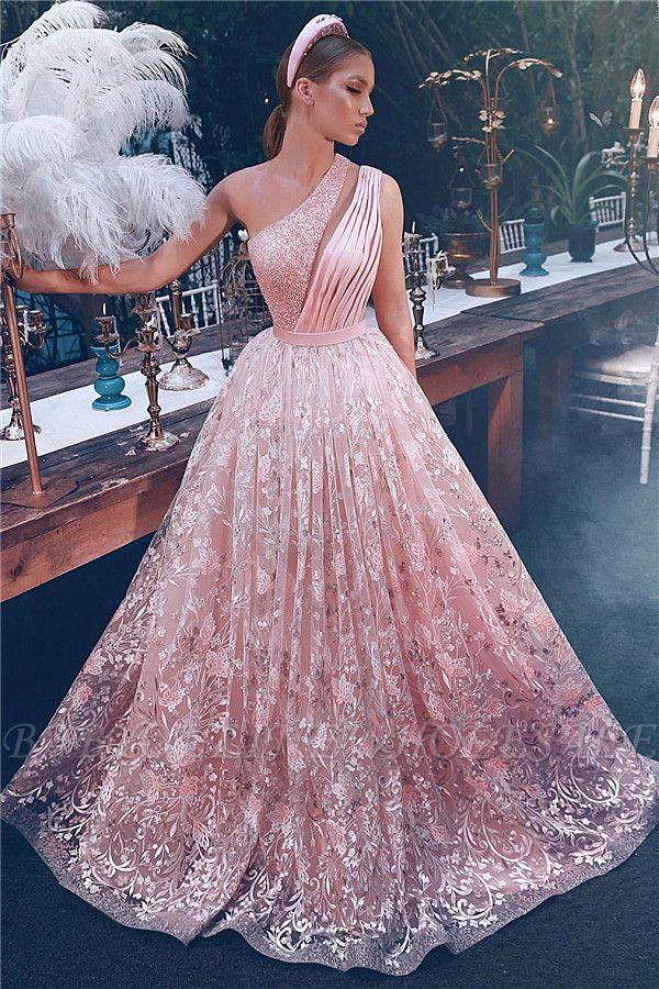 Fantancy One-Shoulder Appliques Beading Evening Dress
