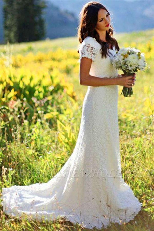 Elegant Lace Appliques Short-Sleeves Sheath Wedding Dress