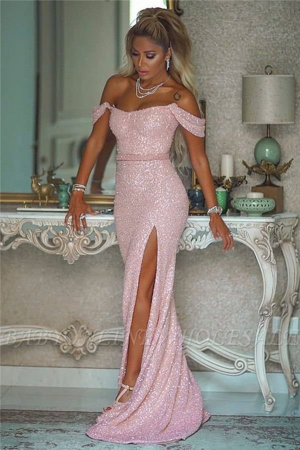 Sexy Off-the-Shoulder Front-Slit Sparkly Beading Long Evening Dress