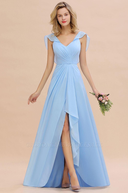 Candance | Simple Hi-Lo V-Neck Ruffles Long Cheap Bridesmaid Dress Online