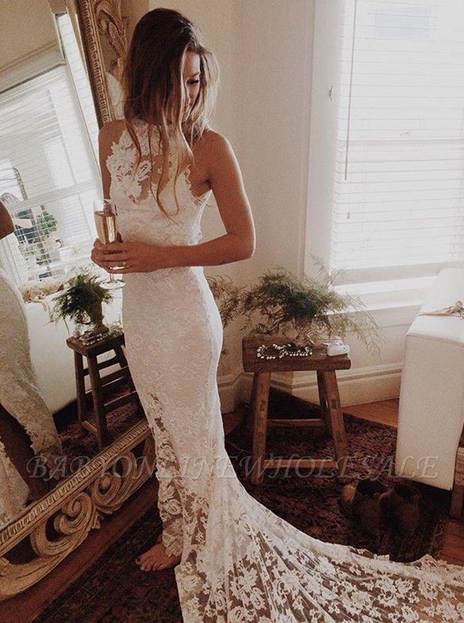 Lace Mermaid Sleeveless Halter Chapel Train Wedding Dresses