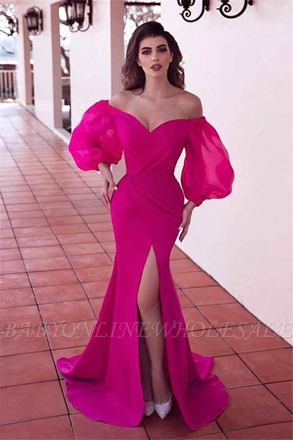 Sexy Off-the-Shoulder Front-Slit Long Evening Dress with Pleats