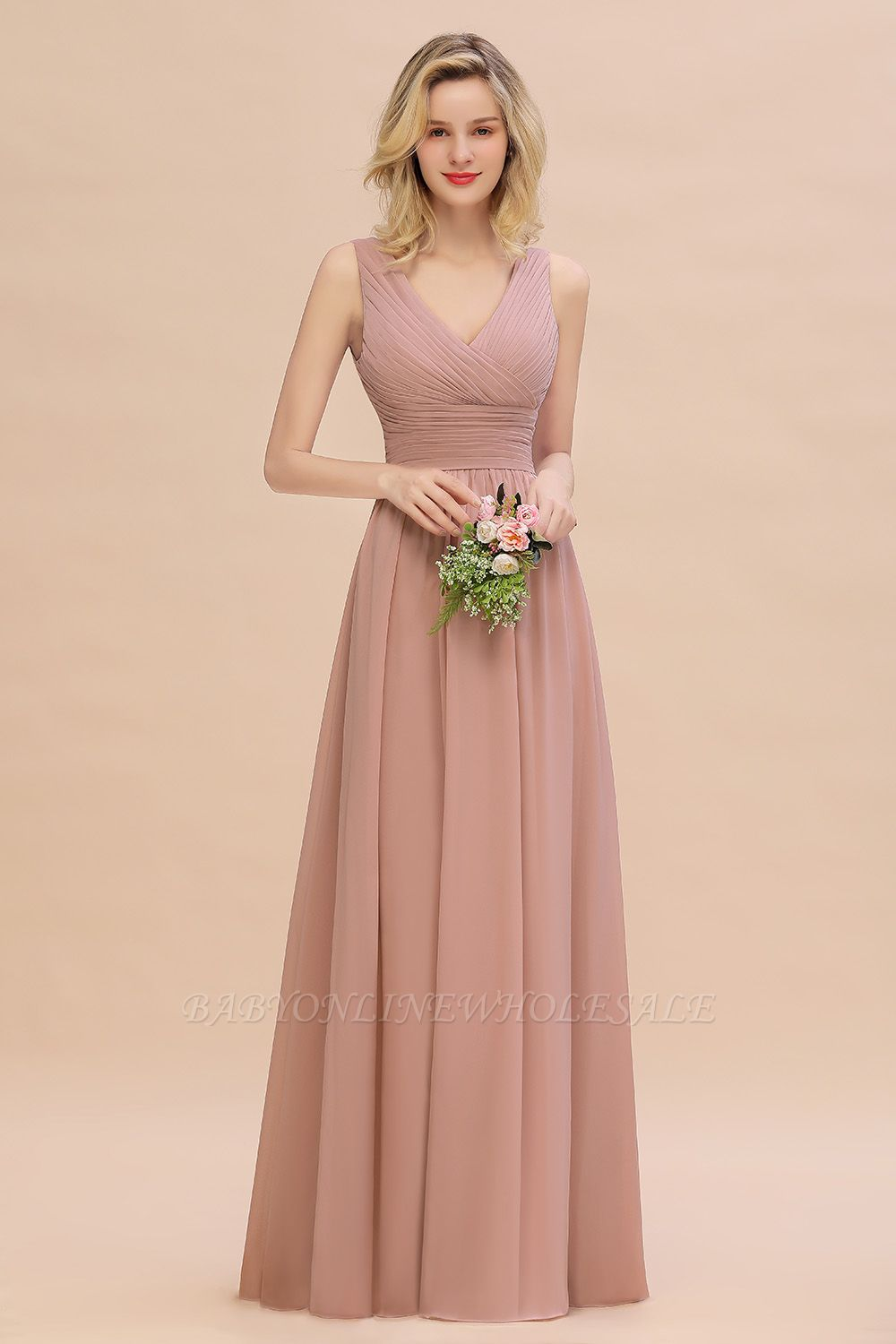 Elegant V-Neck Ruffles Bridesmaid Dress On Sale | Sexy Long Evening Dresses