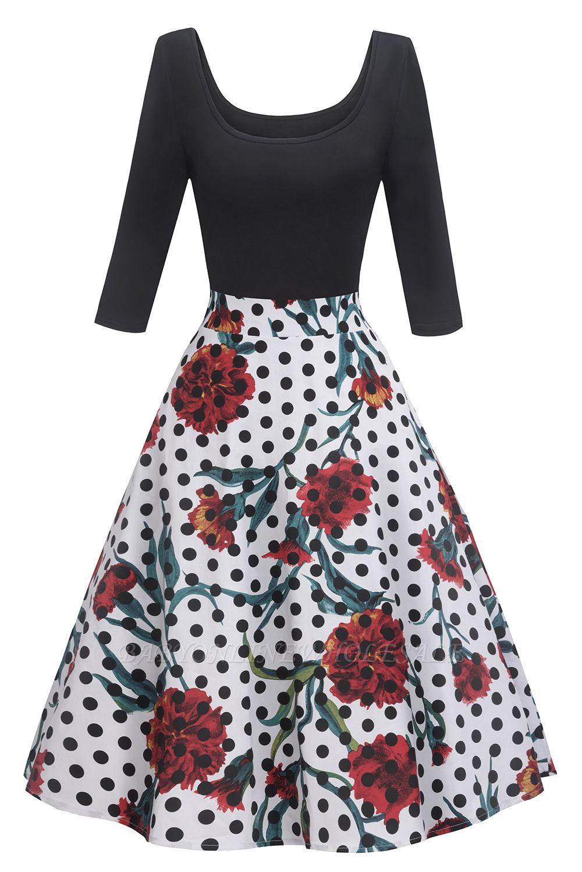 Beautiful Scoop robes à la mode manches 3/4   Polk-Dot Robes pour femmes