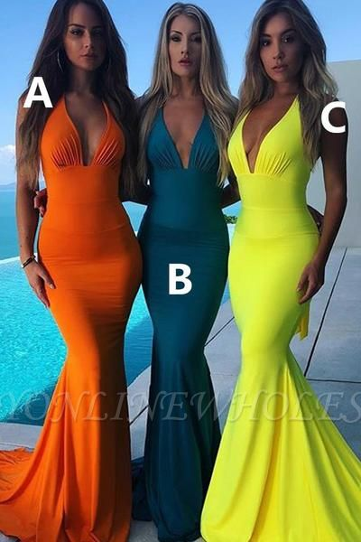 Elegant Mermaid Halter Pool Bridesmaid Dress Online
